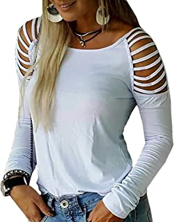 Koodred Women's Fall Casual Loose Hollowed Out Cold Shoulder Long Sleeve T Shirts Tops Blouse
