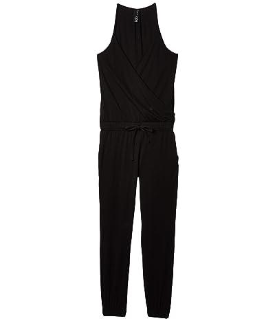 bobi Los Angeles Cami Surplice Jumpsuit in Supreme Jersey (Black) Women