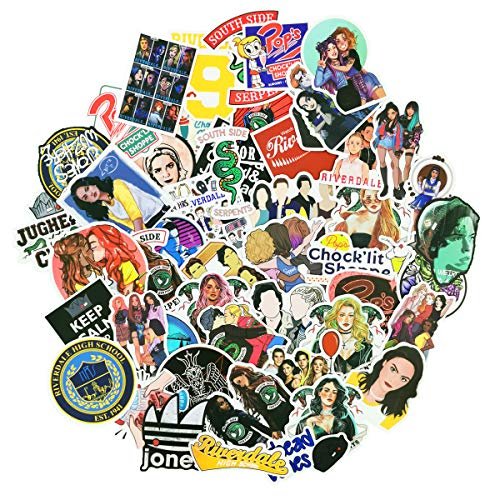 50pcs Riverdale Stickers for TV Show Fans Archie Andrews Betty Cooper Aesthetic Vinyl Decals for Laptop Water Bottles Luggage Snowboard Bicycle Skateboard for Kids Teens Adult Waterproof (Riverdale)