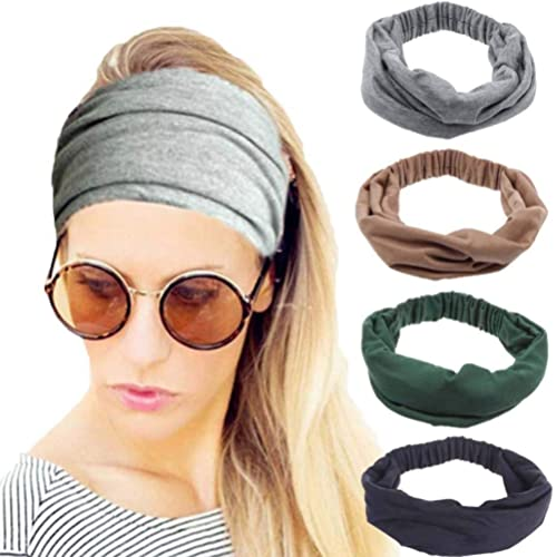 4 Pack Workout Headbands for Women, Stretchy Sport Head Bands for Running Yoga Gym, Wide Twist Fabric Athletic Headwr...