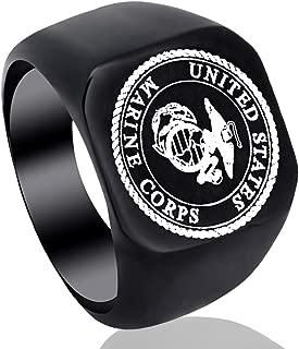 Zhongzhe Men US Marine Corps Insignia Ring Military Gift Veteran Ring