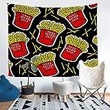 Arazzo da parete per alimenti deliziosi patatine fritte fritte, arazzo da parete per bambini, ragazzi, ragazze, cibo fritto, arazzo da parete 3D, stampa patatine fritte, taglia XL, 150 x 220 cm