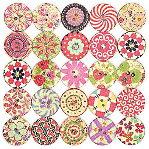 Chingde Botones de madera artesanales, 100 piezas Botones de madera vintage Botones hechos a mano 20 mm con 2 agujeros para decoraciones artesanales de bricolaje Costura de tejer ropa de bebé