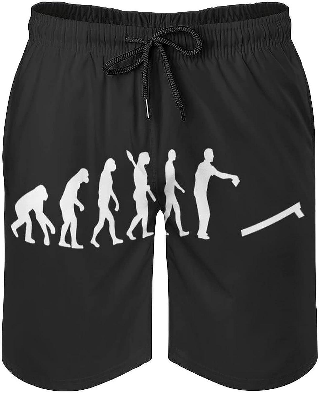 B&MAVIS Cornhole Sports Evolution Men's Summer Quick Dry Swim Trunks Casual Board Shorts Beachwear for Boys Men