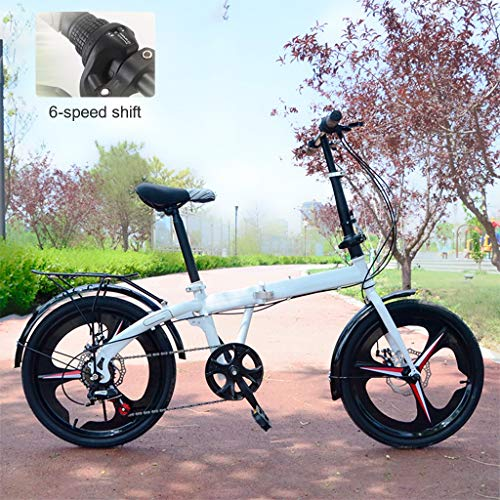 TXTC Cruiser Bike Women/Road Bike with Ergonomic Seat and Stem Folding Lock,Aluminum Alloy Handlebar Foldable Bike Bicycle The Best Gift for Friends and Relatives (Color : White-B)