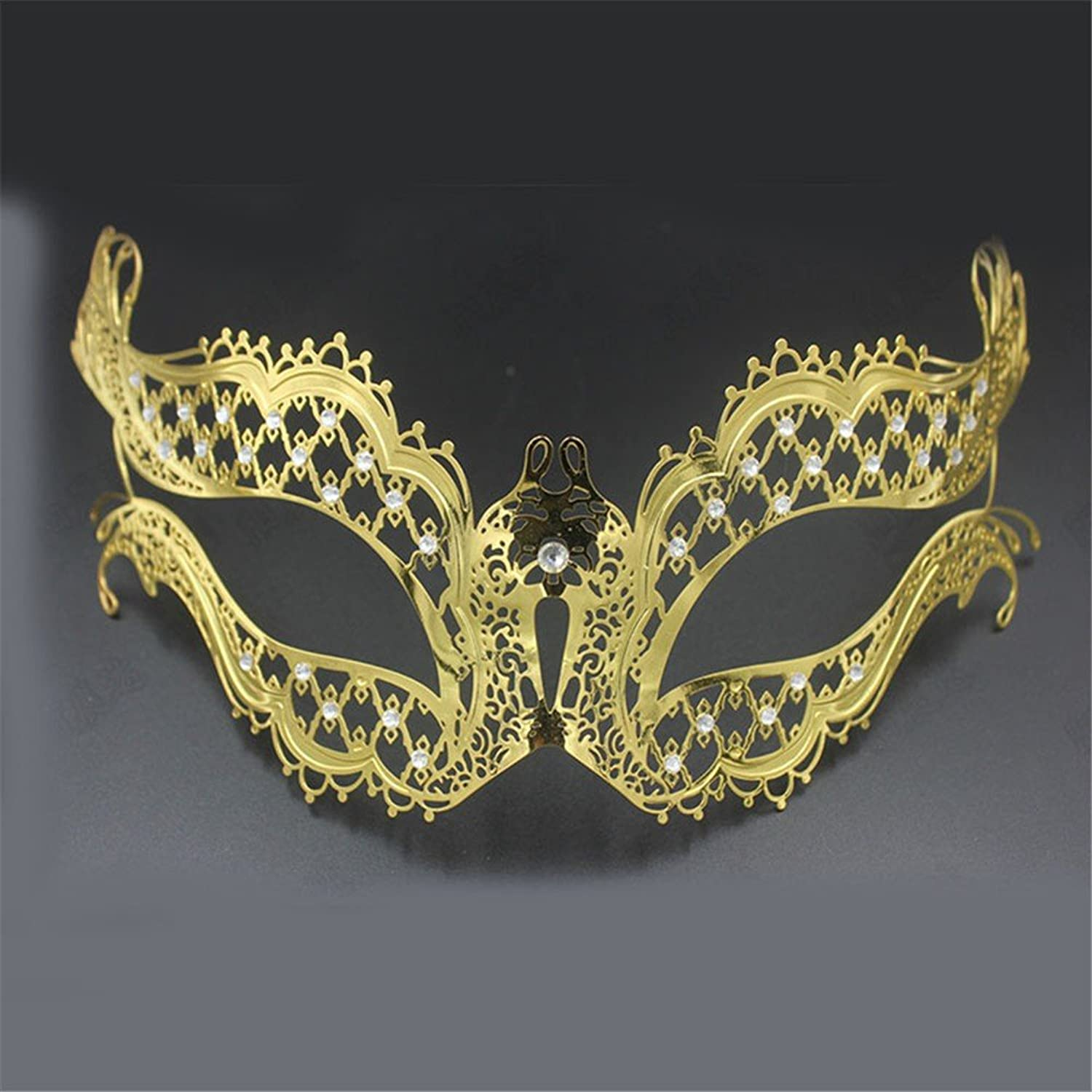 Mardi Gras Party Masquerade Mask,Metal Diamond Mask Cosplay Venice Mask Makeup Prom Mask Female Performance Party Dress Up Props gold Prom Masks