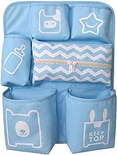 LJPzhp-Baby Crib Storage Bag Hanging Bag Bed Diaper Storage Bedside Storage Bag  Color Blue  Size 47X35X9CM