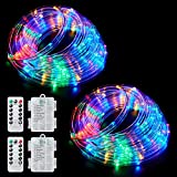 Ollivage Color Changing Rope Lights String Lights for Bedroom, Battery Powered Light Strip 40ft 8 Modes Hanging Fairy Lights with Remote for Camping Halloween Christmas, 2 Pack