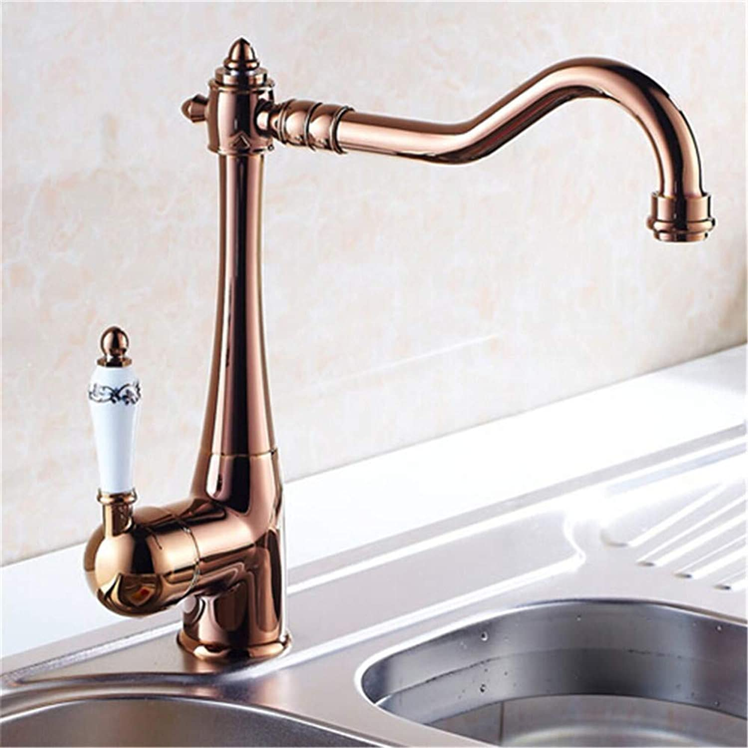 Oudan European Retro Style and gold Surface Kitchen Faucet Bathroom Basin Faucet by Brass Sink Faucet Water Mixer Tap,B (color   B, Size   -)