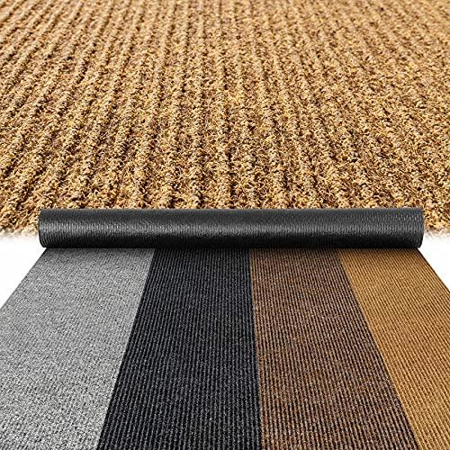 Felpudo (40 x 80 cm), diseño de rayas, color marrón claro