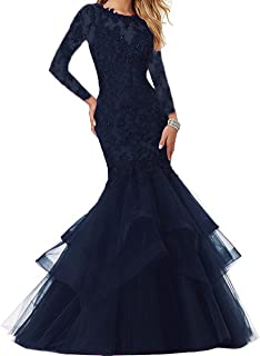 Women's Beaded Lace Embroide Prom Dress Long Mermaid Formal Prom Party Ball Gown