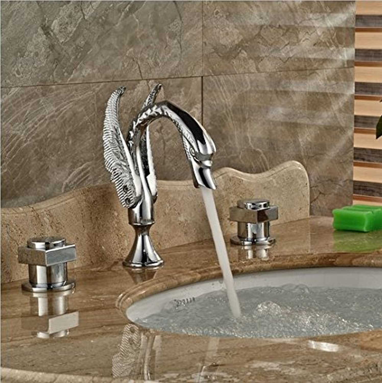 Gowe Deck Mounted Badezimmer breitgefchert Badezimmer Waschbecken Wasserhahn Dual Griff Wasserhahn Mischbatterie