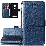LEECOCO Case for Moto Z4 Play Unique Solid Color Elephant Embossing Flip Wallet Case with Card Cash Holder Slots Wrist Strap [Kickstand] PU Leather Cover for Motorola Moto Z4 Play Elephant Blue LD.