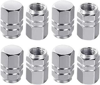 JMAF Tire Stem Valve Caps Aluminium Car Dustproof Caps Tire Wheel Stem Air Valve Caps, 8 Pieces (Silver) (Silver)