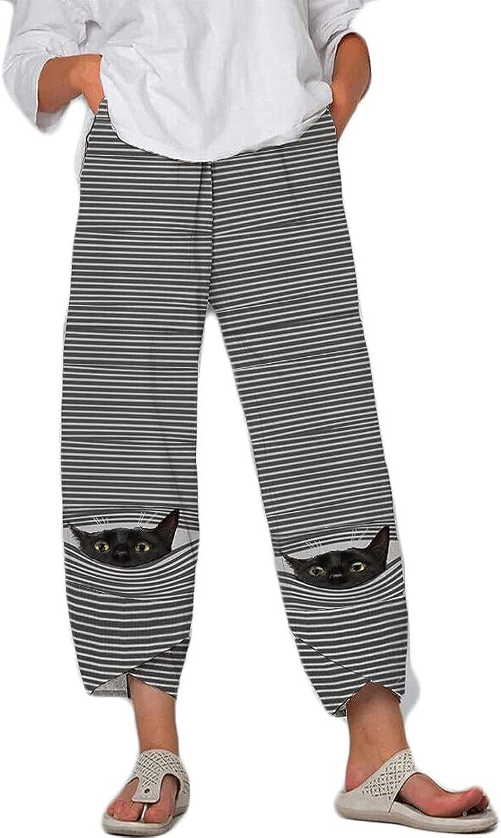 Capri Pants for Women, Fashion 3D Cat Print Summer Casual Linen Cropped Pants, Comfy Harem Palazzo Trousers