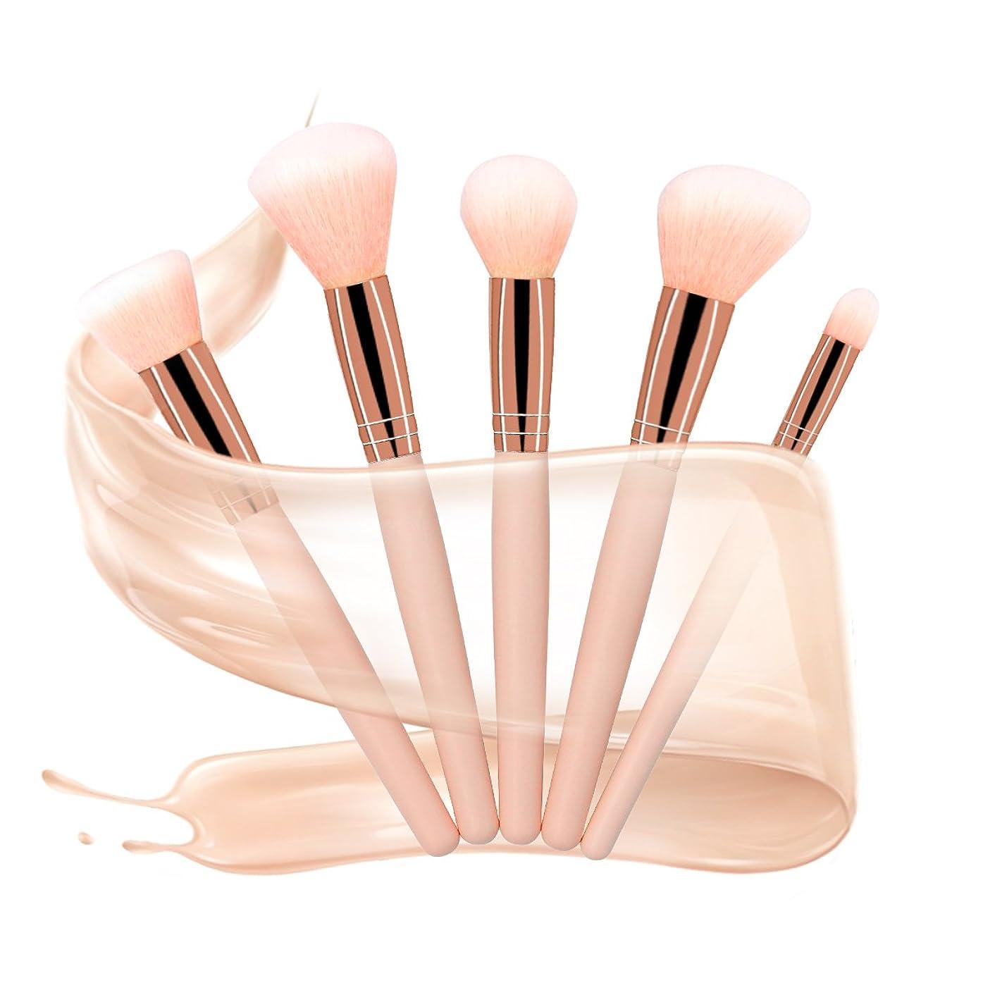 X-go 化粧筆 高級天然毛 5本セット 化粧 ブラシ 肌触りがふんわり 敏感肌適用 メイクブラシ (ピンク)