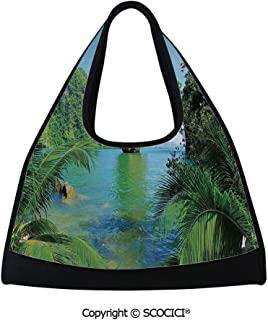 Badminton bag,James Bond Island Phang Nga in Thailand Filming Cliff Geological Formation Tropics,Multi Functional Bag (18.5x6.7x20 in) Green Blue