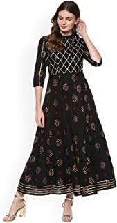 Women Black & Gold-Coloured Printed Anarkali Kurta By Dream Angel Fashion