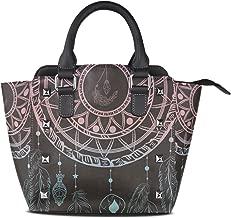 Dreams Floral Boho Style Genuine Leather Handbags for Women Rivet Satchel Tote Shoulder Bag