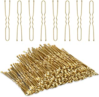 U Shaped Hair Pins,MORGLES Bun Hair Pins Bobby Pins Hair Pins Kit for Blonde Bob Pins Bulk with Box,80-Count (Golden 2.4 inch)