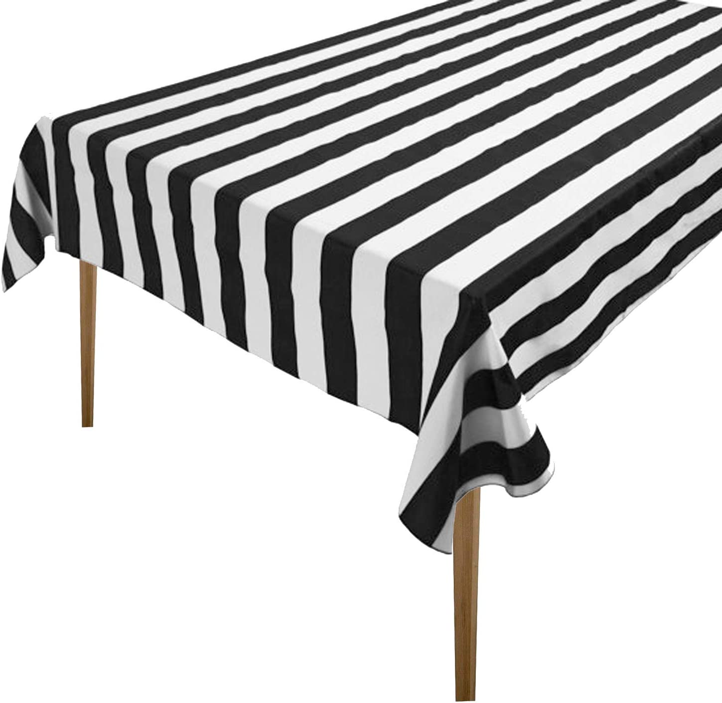 Black and white stripe tablecloth cotton wedding parties decoration table cloth overlay table topper