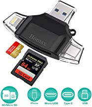 Card Reader,BOMAX SD Micro Card Reader Portable SD Card Reader Tf Card Reader & USB C Micro SD Card Adapter for Computer iPhone iPad GALAXY S8 Android Mac,Micro USB 3.0 Connector