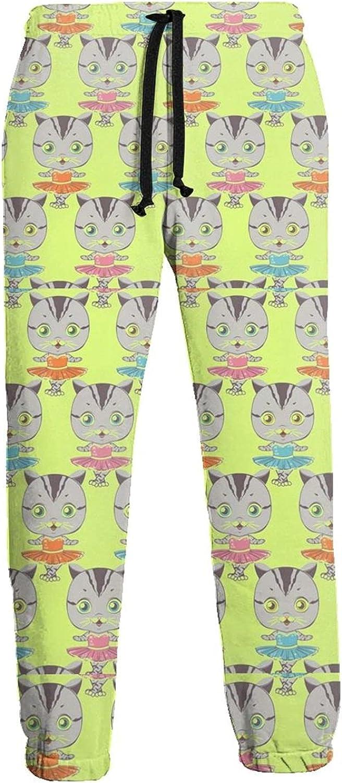 KAWAHATA Dancing Cats Men's Pants with Pockets Tapered Athletic Sweatpants 3D Casual Active Sports Pants