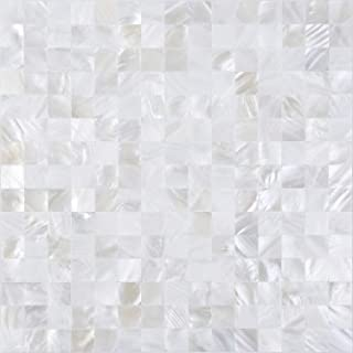 KASARO Wall Tile Peel and Stick Mosaic Shell Backsplash Sticker for Bedroom and Bathroom Mother of Pearl (1, White)