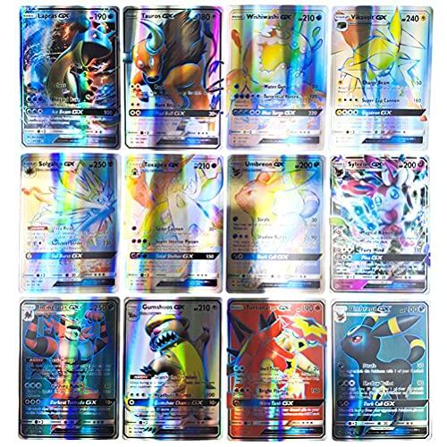 Dasini Cartas Pokémon, Tarjetas de Pokémon, Juego de Cartas de Pokemon de 60 Piezas, Cartas de Juego de Dibujos Animados, Tarjetas de Comercio GX, Regalos para Niños (60 gx)