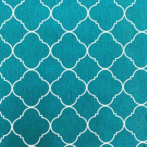 Kt KILOtela Tela de loneta Estampada - Retal de 300 cm Largo x 280 cm Ancho | Geométrico, Vintage - Azul Turquesa ─ 3 Metros