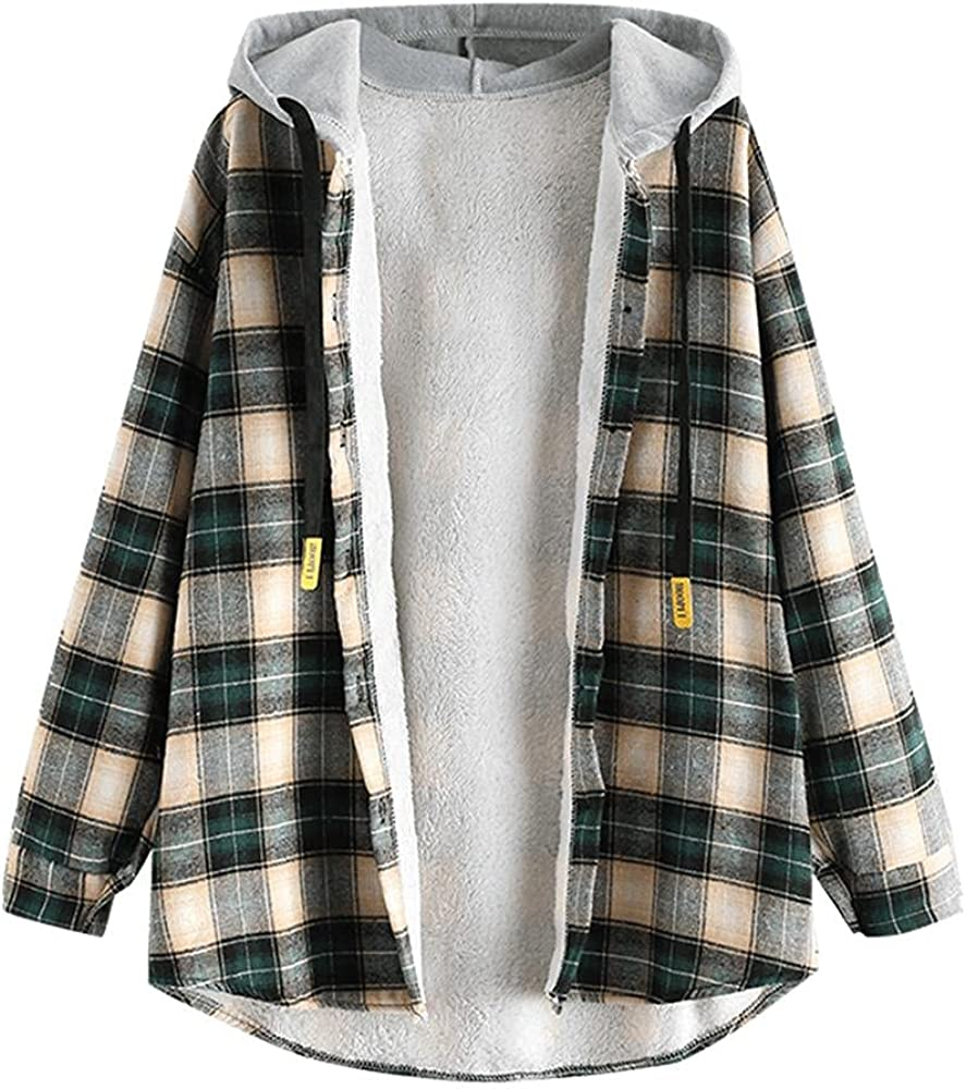 ZAFUL Women's Plaid Fleece Lined Hooded Jacket Button Up Oversized Fuzzy Coat Checkered Flannel Hoodie Jacket