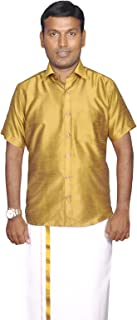 PRAKASAM COTTON Mens Slim FIT Gold Colour Dupion Silk Readymade Half Sleeve Shirt