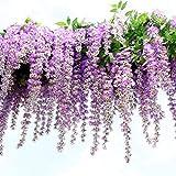 Pianta artificiale di glicine rampicante con fiori in seta, ideale come decorazione per matrimoni, casa e feste in giardino, 12 pezzi per confezione, da 110 cm/pezzo Purple