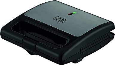 BLACK+DECKER Sanduicheira Aço Inox Preta SM750-BR