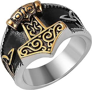 HZMAN Men Stainless Steel Viking Ring Thor's Hammer Valknut Warrior's Gothic Jewelry