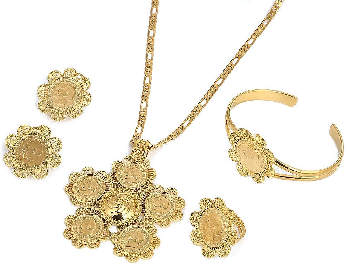 Ethiopian Big Cross Jewelry Set Women Men Gold Color Jewelry Africa Coin Cross Eritrea Habesha Jewelry