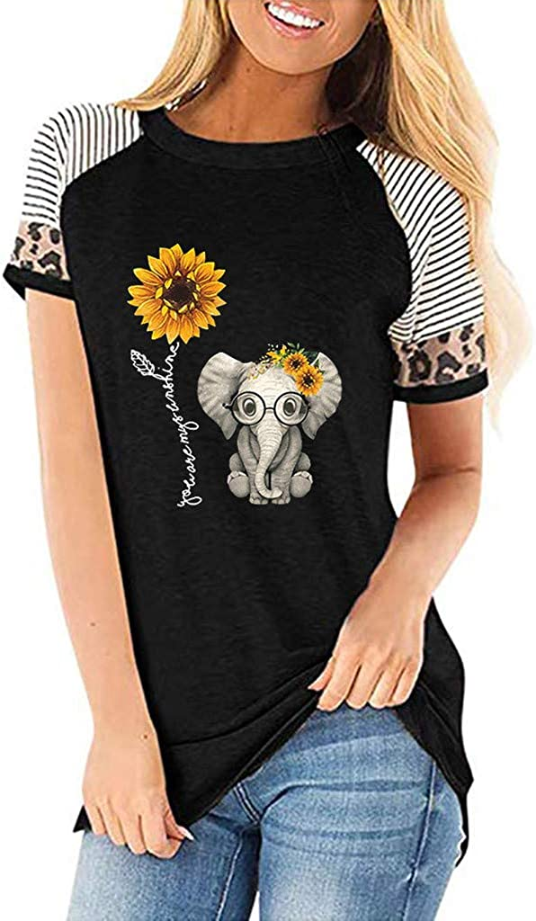 YUehswet Womens Tops,Womens Casual Sunflower Leopard Print T-Shirts Short Sleeves O-Neck Tops Summer Graphic Tees Women Top