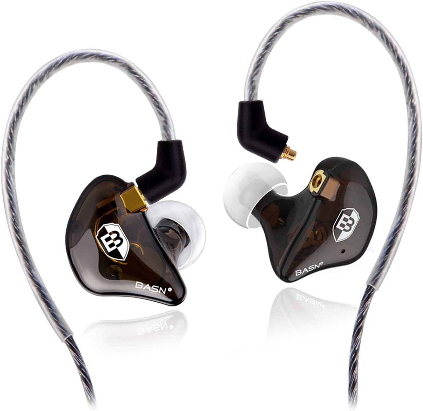 BASN High-Definition in Ear Monitor Headphones for Musicians with Detachable MMCX Earbuds; Dual Dynamic Drivers and Noise-Isolating (Brown)
