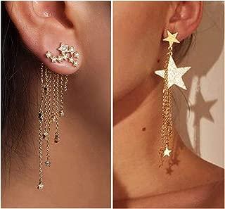2 Sets Gold Long Tassels Dangle Earring for Women Crystal Lucky Star Long Chain Tassel Earring for Girls