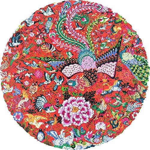 cnmd Puzzle de Madera Hartmaze, pájaros Hechos a Mano, el Homenaje al Phoenix 253 Pieza verdaderamente única, Forma Redonda, la Mejor opción para Adultos y niñ