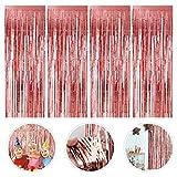 Cortina de Oropel, 4 Pack Oro Rosa Metálica Foil Fringe Cortinas, Cortinas Flecos Fiesta Boda Cumpleaños Navidad Foto de la Cabina Decoración de la Cortina de la Puerta (1m x 2m)
