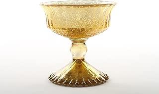 Koyal Wholesale 4.5-Inch Antique Gold Glass Compote Bowl Pedestal Flower Bowl Centerpiece
