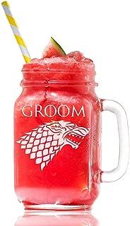 Stark Groom Game Of Thrones Inspired Gift 15 Mason Jar Glass, Groomsmen Beer Glass Gift, Best Man Gift, Bridal Party Gift, Groom Beer Glass.- 4 PC SET