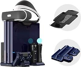 ElecGear Soporte Vertical para Playstation PSVR Stand, Ventilador de Refrigeración, LED Estación de Carga Cargador de Controlador DualShock 4 y Move Controller Mando Charger para PS4, Slim y Pro