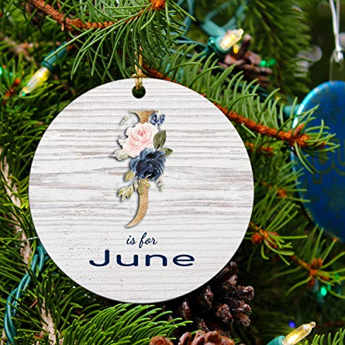 2020 Christmas Ornaments Tree Decorations with Name June Christmas Tree Decorating Party Holiday Xmas Gift Funny Novelty for Family Best Friends Husband Wife MDF Plastic