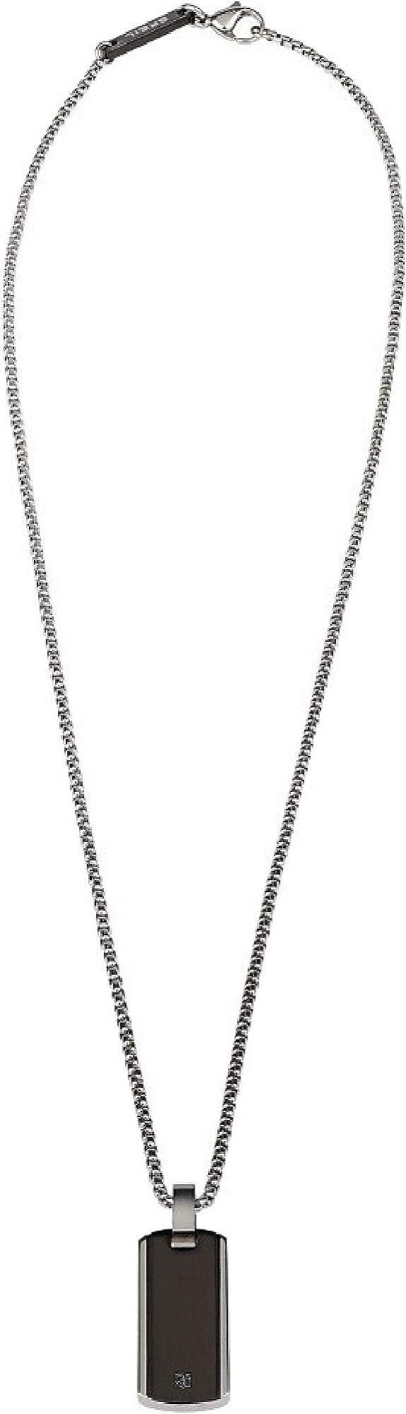 Breil collana uomo in acciaio lucido con pendente in acciaio color gun e diamante nero TJ2747