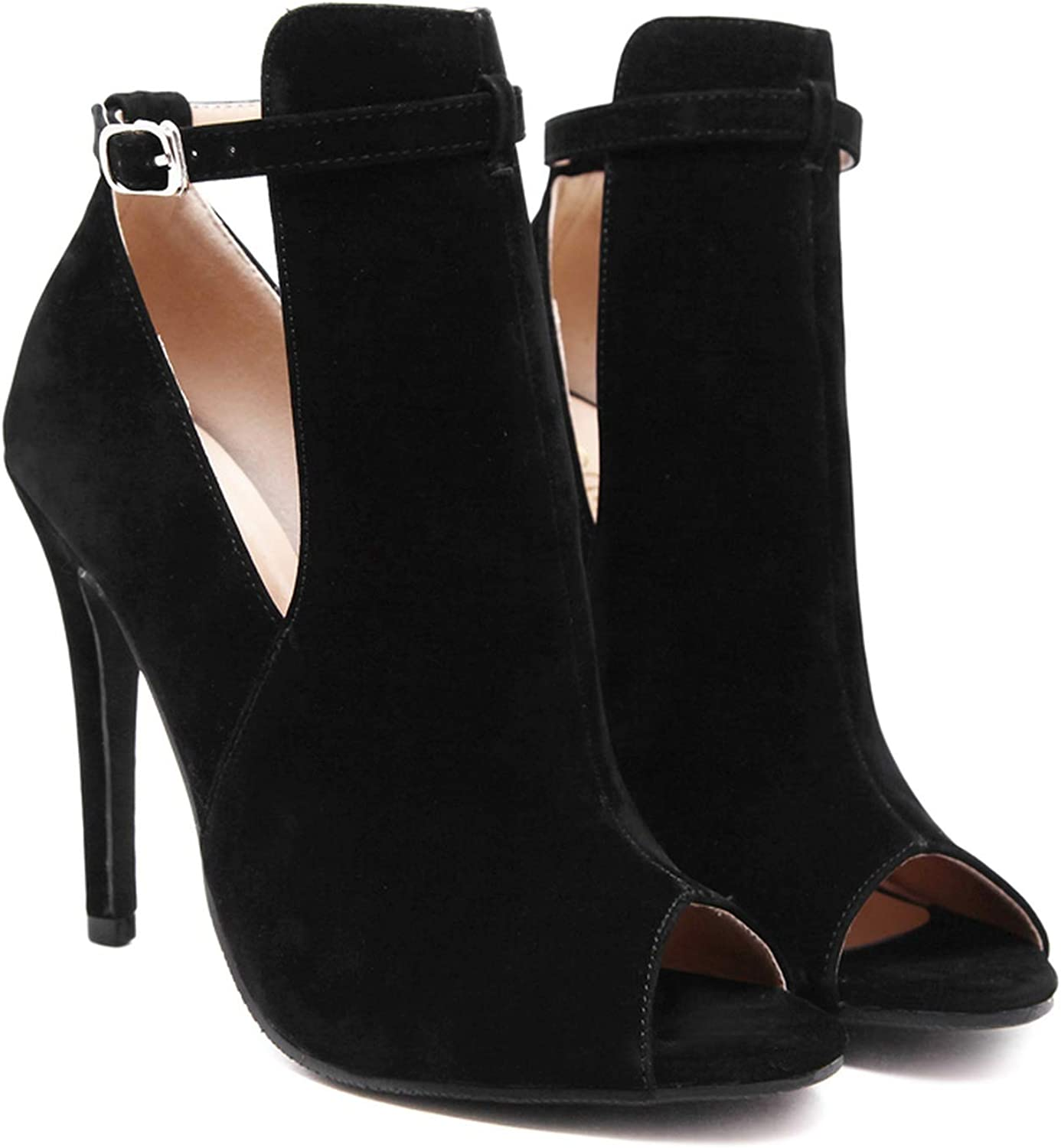 Little SU Peep Toe Sandals Suede Ankle shoes Thin High Heels Women Boots Ankle Strap Buckle Pumps