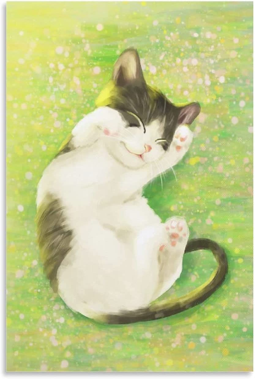 zhimeng Special sale item Coquettish Cat on The Grass C Decorative Painting Limited price sale Poster