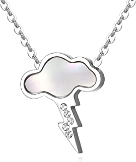 Mood of Thunder Cloud Lightning Bolt CZ Pendant Necklace, Stylish Delicate Jewelry for Women