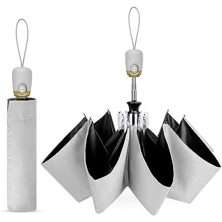 【最新版】日傘 折りたたみ傘 ワンタッチ自動開閉 UVカット 遮光 折り畳み傘 紫外線遮断 耐風撥水 メンズ レディース 軽量 晴雨兼用 収納ポーチ付き 父の日 プレゼント ギフト (グレー)